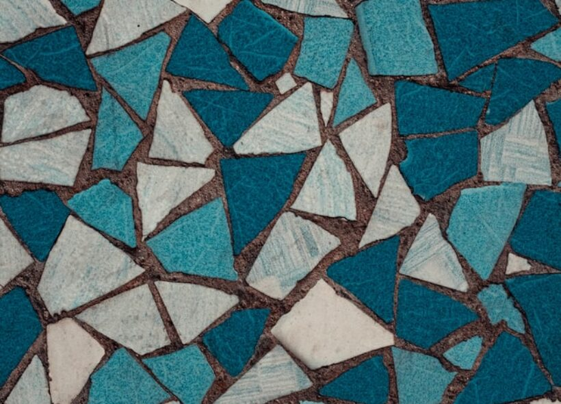 Mosaic in white, grey and teals