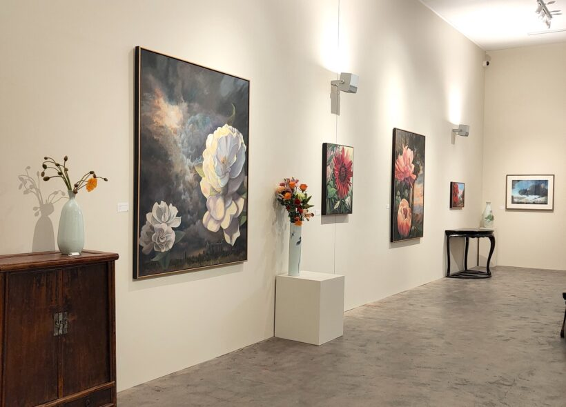 Sun, Rain, Flowers Solo Exhibition by Roger Beale AO at Humble House gallery, image of Classical art in the gallery space.