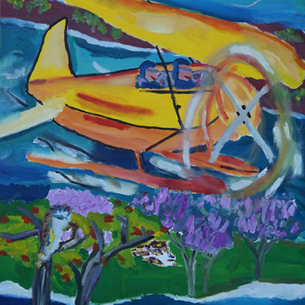 'Amazing Journey' by artist Belinda Peel. A colourful painting with a yellow small plane flying over a beach and two people looking at it from the shore.