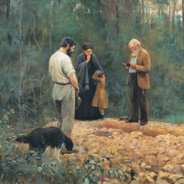 The painting, Frederick McCubbin's 'A bush burial', depicts a graveside in the Australian landscape.