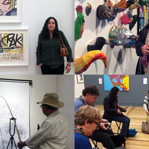 Four images show people engaging in arts activities such as viewing an exhibition and sketching