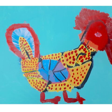 A colourful  acrylic painting of a chook