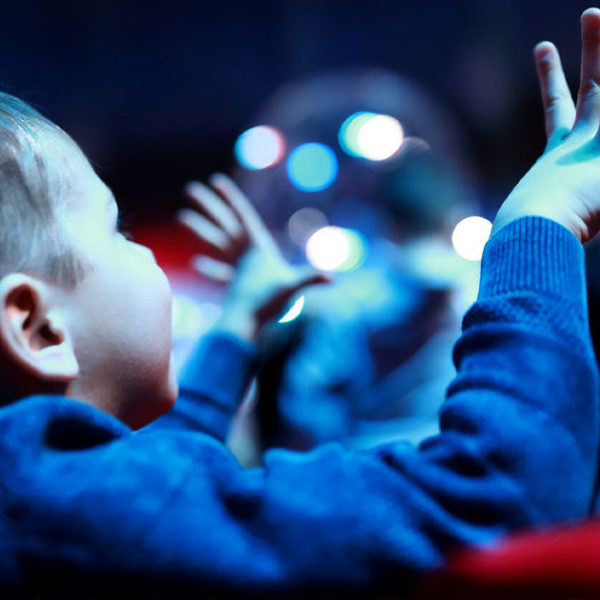 Young boy in cinema. Hands in the air.