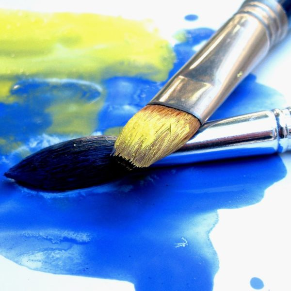 Paint brushes up close