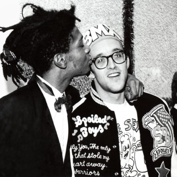 Keith Haring and Jean-Michel Basquiat at the opening reception for Julian Schnabel at the Whitney Museum of American Art, New York, 1987. Photo: © George Hirose