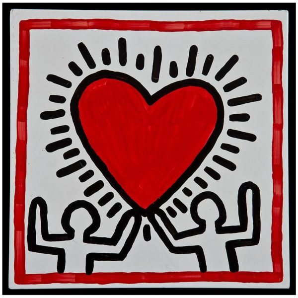 Keith Haring Untitled 1982 ten works - enamel color on steel Each 30.5 x 30.5 cm Collection of Larry Warsh Keith Haring artwork © Keith Haring Foundation Photo: © Gavin Ashworth NYC