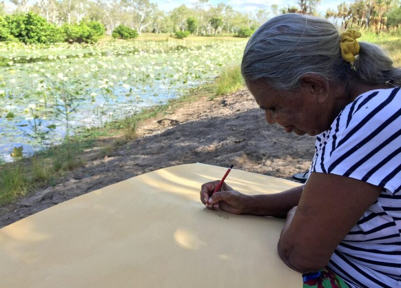 Peggy Griffith's sitting outdoors on brown dirt, drawing with a lead pencil on board in front of a river filled with waterlillies on a sunny day
