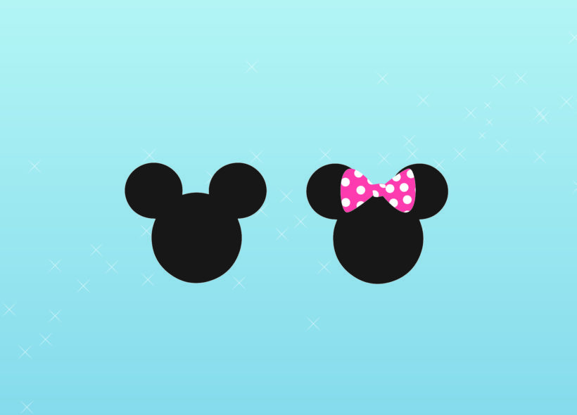 Mickey Mouse and Minnie Mouse silhouettes on a pale blue background with a swirl of silver stars across the image