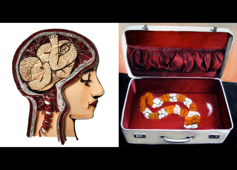 Collage of face and brain, Small open suitcase.