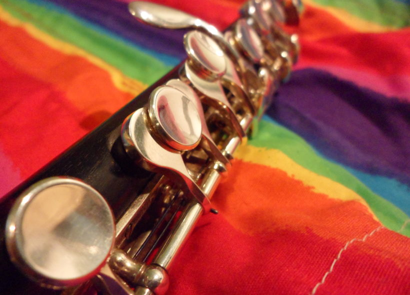 Rainbow flag with a piccolo on it