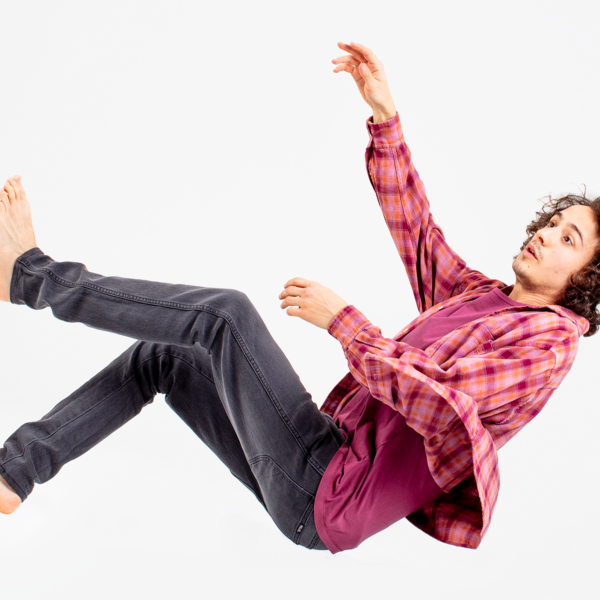 Man falling through air on white background
