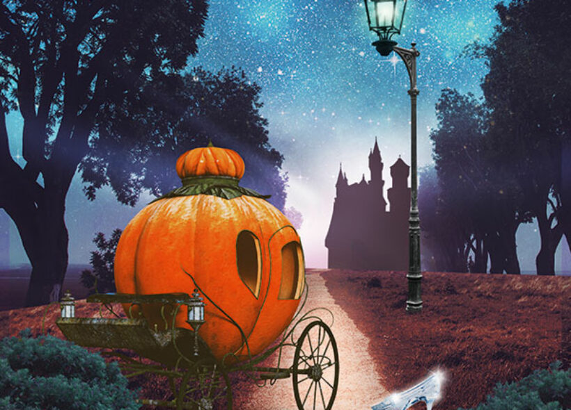 Pumpkin carriage and shadow of Cinderella of road leading to castle