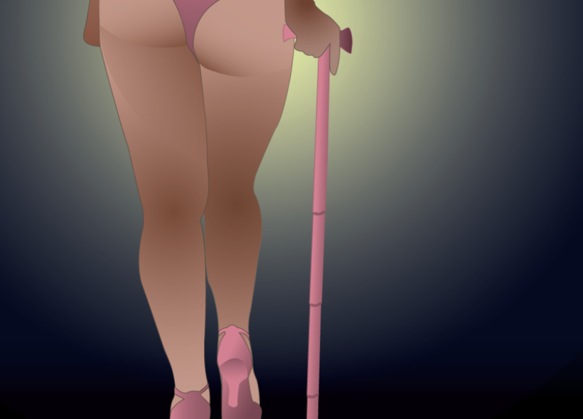 back of a woman wearing pink leotard using pink cane