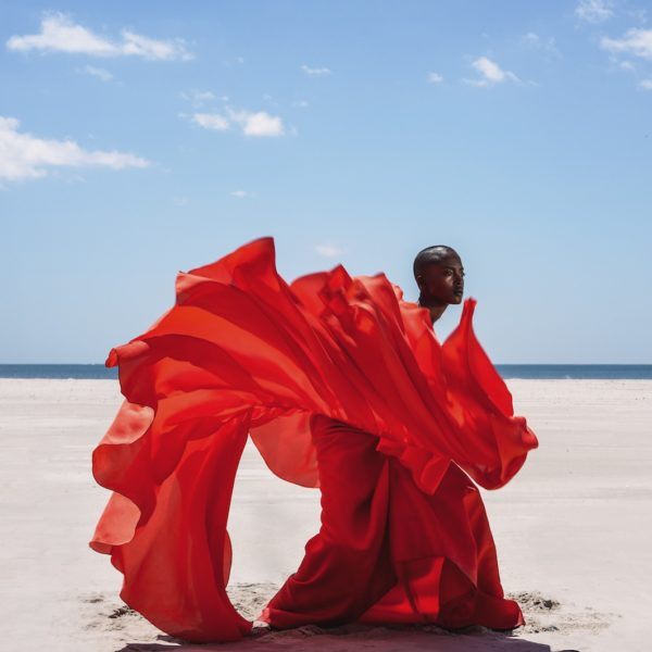 A black woman in an elegant red dress as standing on the beach. Her dress is flying around her.