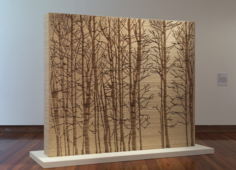 Image credit: Kylie STILLMAN Scape (2017), hand-cut plywood, 200 x 240 x 30cm, image courtesy of Utopia Art Sydney. Photography by Christian Cupurro.