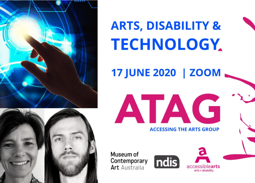 Promotional image for ATAG Online featuring event text and branding, three black and white headshots of two men and one woman, and an image of a hand touching a glowing blue electronic display screen.