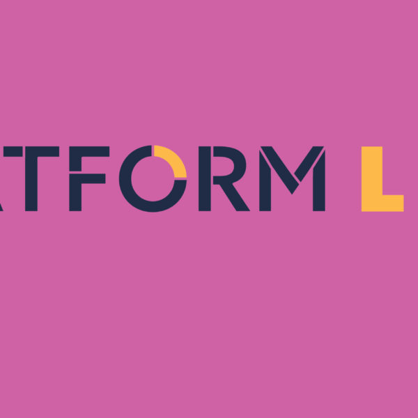 Image of PLATFORM Live Image on a pink background promoting online accessible arts festival