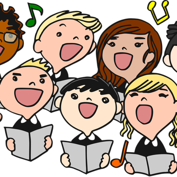 A cartoon drawing of a group of people singing together