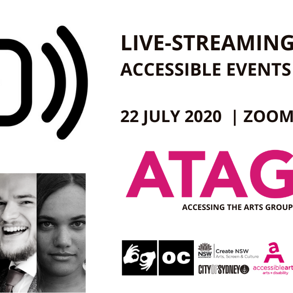 Promotional Image for ATAG Online with event text, various logos, five black and white head shots of three women and two men and a promotional image featuring a live streaming icon.
