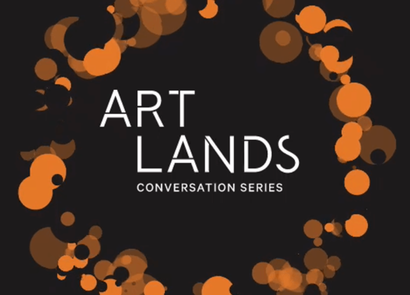 A white logo on a black background that says Artlands Conversation Series surrounded by a circle made up of smaller orange and black circles which overlap to form a sort of garland effect.