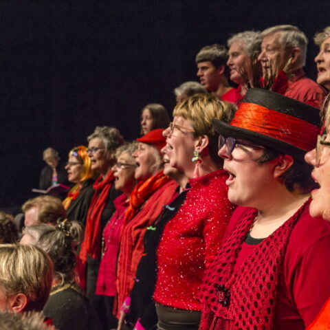 Side on view as a choir dressed in red and black sing