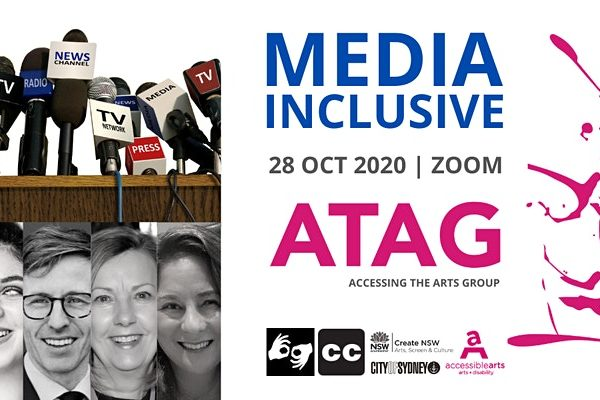 Promotional image for ATAG Online with event text, various logos, and black and white head shots of four women and a man below a photo of many microphones on a wooden table.