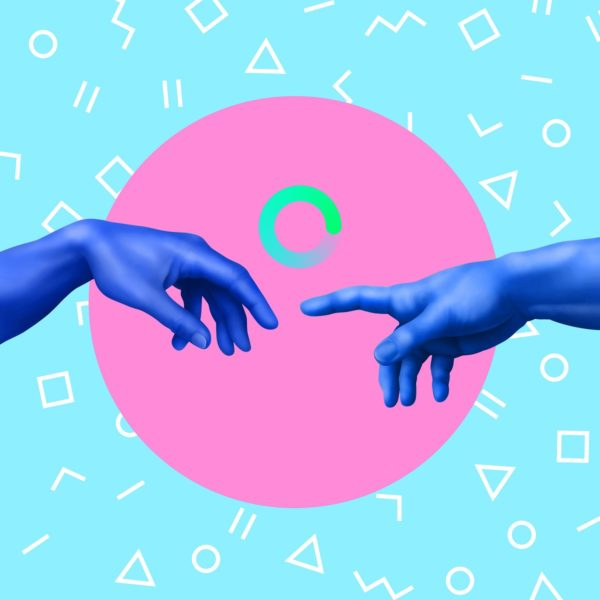 Two hands meet in the centre of the image. The background is blue featuring drawings of various shapes, with a pink circle in the centre.
