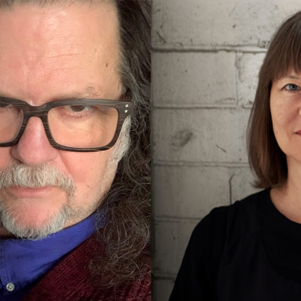 Headshots of a man and a woman. The man wears glasses, has long dark hair and a silver beard. The woman has shoulder length dark hair and stands in front of a white brick wall