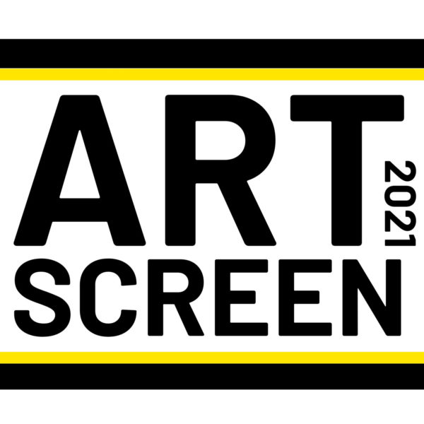 ArtScreen 2021 logo with the words Art and Screen and the number 2021 in black font on a white background inside a simple illustration of a mobile phone.