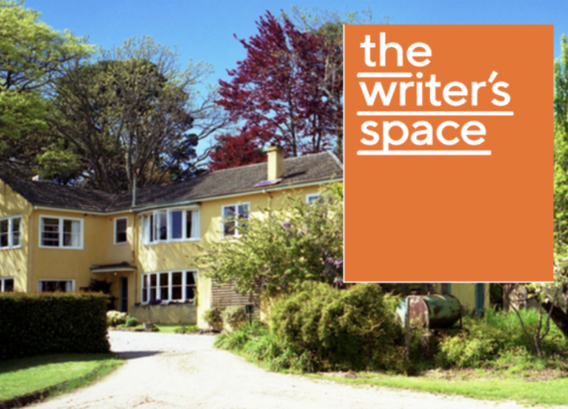 An image of a large yellow house in a garden. The words THE WRITERS SPACE appear in a lower case white font in the top right corner of the image. Behind these words is an orange rectangle.