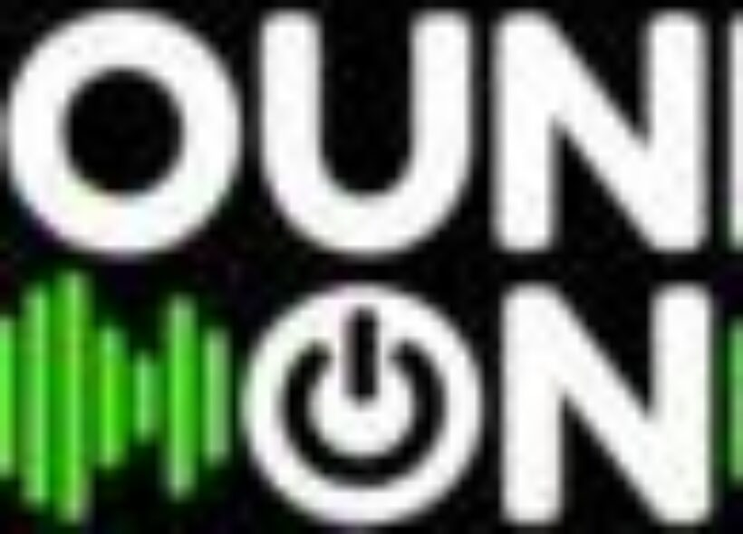 The words SOUND and ON are stacked in a white font in capital letters with a lime green sound wave on either side of the word ON. The letter O in ON is a power on icon.
