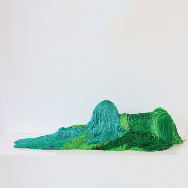 Troy Emery, The emerald sphinx, 2020. Polyester, polyurethane, wire, fibreglass, pins, adhesive, 24 x 98 x 40 cm. Image courtesy of the artist and Martin Browne Contemporary.