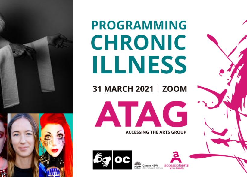 Promotional image for ATAG Online with event text, various logos, and colour head shots of four women below a black and white photo of a male body covered in bandages with arms outstretched. Key Image: THE CHRONIC DIARIES – FIX ME (credit: Tyler Grace)