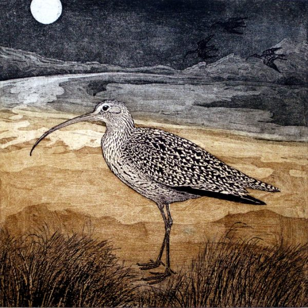 Annie Day, Time to Go, 2017 (detail), lithograph and etching, 28 x 28 cm. (2 plates; key plate is a lithograph and the 2nd plate an etching inked in 2 colours)