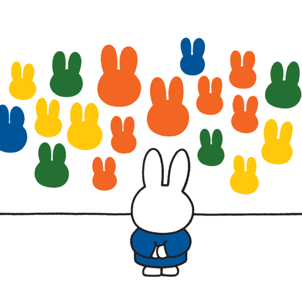Illustration of a small bunny, wearing a blue jumper, facing a white wall that features twenty paintings of small bunny heads in orange, blue, yellow and green