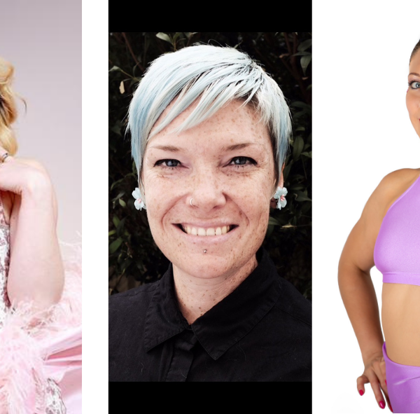 On the right is a colour photo of a blonde woman wearing a pink corset and skirt. In the middle is a black and white headshot of a man with beard and glasses. On the right is a colour photo of a woman with dark hair wearing a pink sports top and shorts.