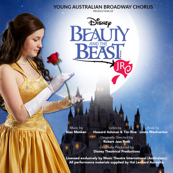 Young Australian Broadway Chorus presents Disney's Beauty and the Beast Jr. Image of Belle in yellow gown holding the iconic beauty and the beast red rose