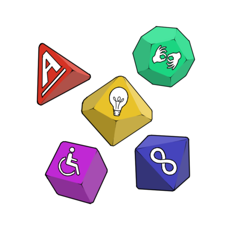 [Image description: brightly coloured polyhedral dice on a white background. The central die has a picture of a lightbulb on the side facing the viewer, while other dice have pictures of the symbols for deafness (hands using sign language), neurodiversity (the infinity symbol) and disability (the symbol featuring a wheelchair user) and the A_tistic logo.]