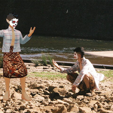 Kalanjay Dhir, Stream. Computer generated image of two people on a river bank wearing masks.