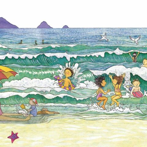 Drawing of a beach. Many children are playing in the waves. A woman sits under a red and orange beach umbrella. There are seagulls flying over the water. In the background there are mountains.