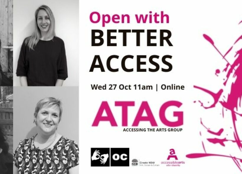 Promotional image for Open With Better Access Online ATAG with event text and black and white headshots of the four people who will be speaking at this event.